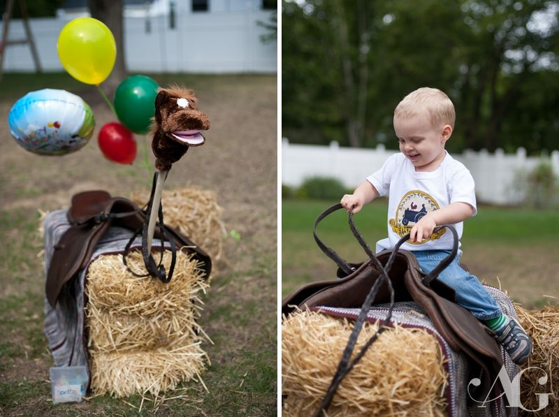 Kids farm party, hay bale horse, saddle, hobby horse #aubreygreenephoto