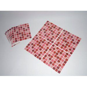 Pack Of 10 Pink Mosaic Tile Transfers Stickers Blue Aqua Quickly Transform Your Bathroom Or