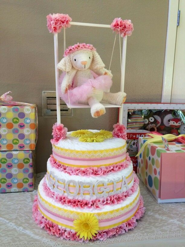 Baby shower, ballerina lamb, Pink and Yellow Southern Theme Diaper Cake. Created by Cyd Haltom