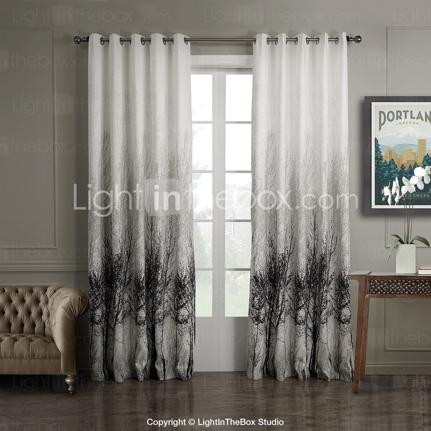 Modern grommet top curtains -  One Panel Grommet Top Ink Painting Style Trees Energy Saving Curtain Cad