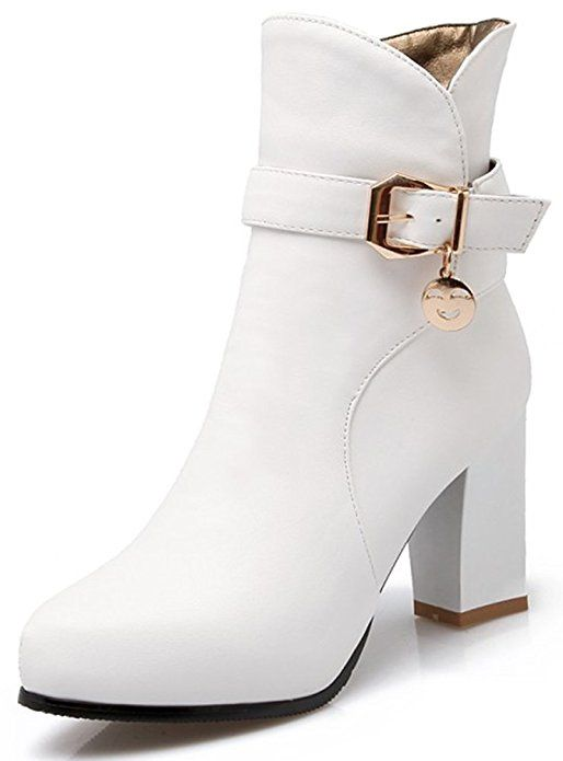 7f52d3999c296a Summerwhisper Women s Stylish Buckle Strap Pointed Toe Side Zipper Bridal  Booties Chunky High Heel Ankle Boots Shoes