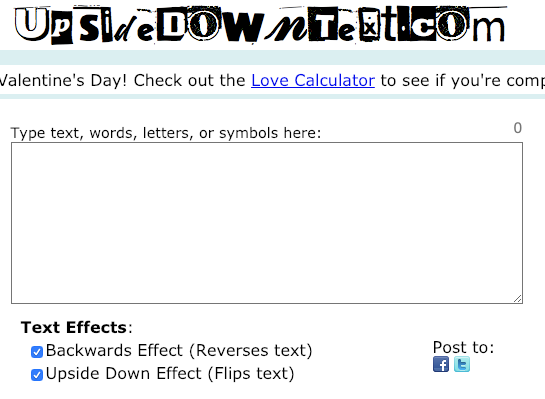 Write Upside Down Or Backwards Text Reverse Text Love Calculator Text