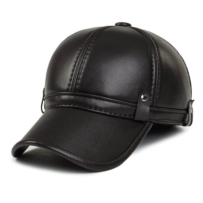 95869a5d0cfe2 Thermal Leather Winter Hat Male Keep Warm Baseball Cap Bone Thick Cotton  Warmth PU Leather Cap