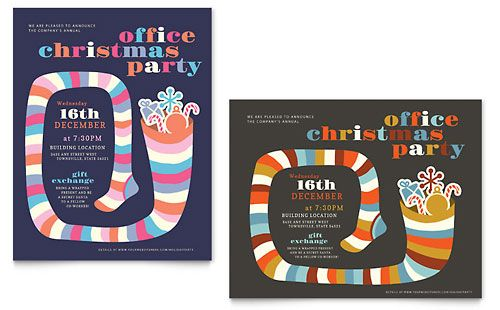 Christmas Party - Poster Template Design Sample Stock Poster - holiday flyer template example 2
