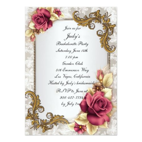 Elegant Red Roses Bachelorette Party Invitation