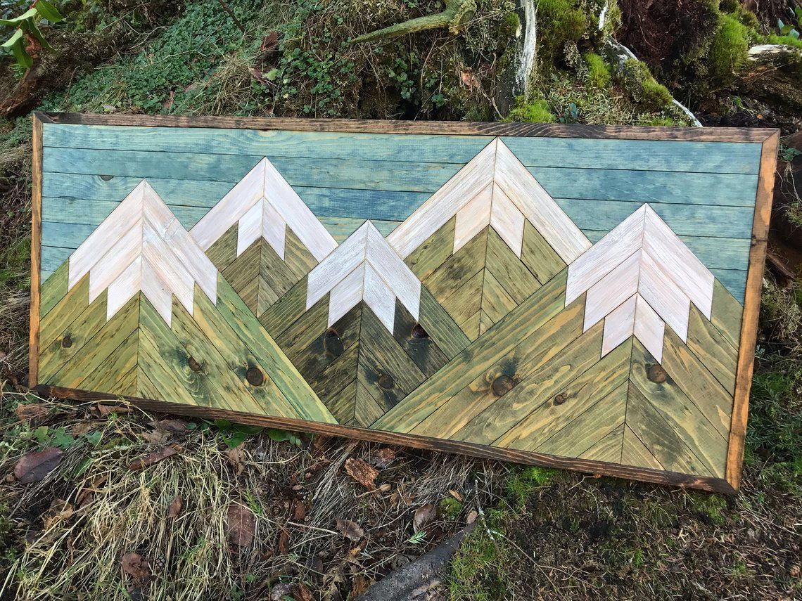 Medium rustic five evergreen wood mountains wall art