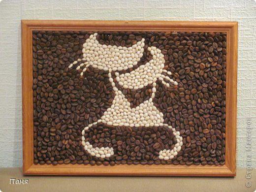 Панно с натуральными зернами кофе