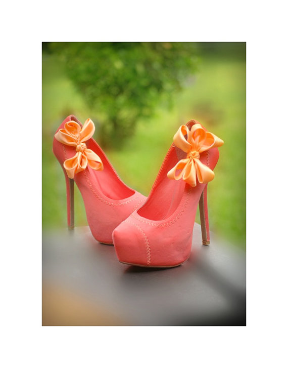 99c05217557f1 Orange Wedding Shoe Clips. Coral Pink Salmon Bow. White Ivory Pearl ...