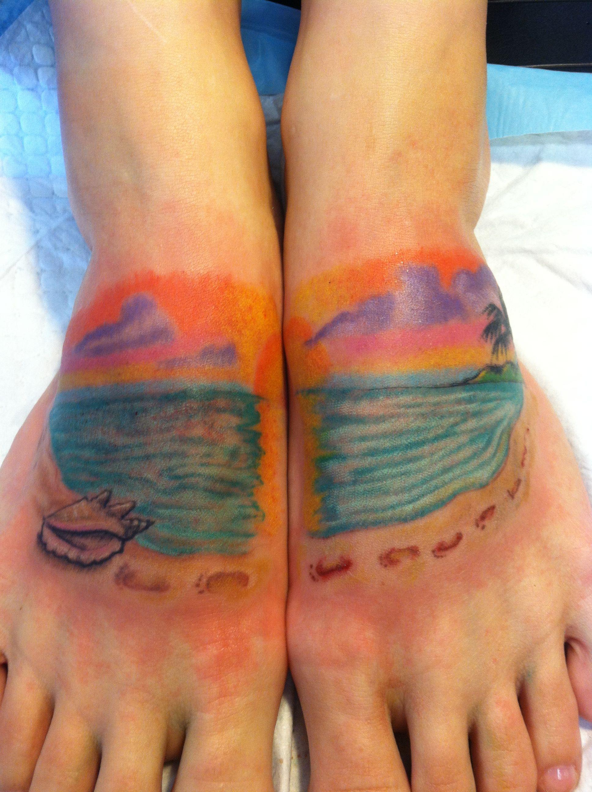 Key West Tattoo Ideas : tattoo, ideas, Beach, Footprints, Sand., Tattoos,, Tattoo,, Beaches