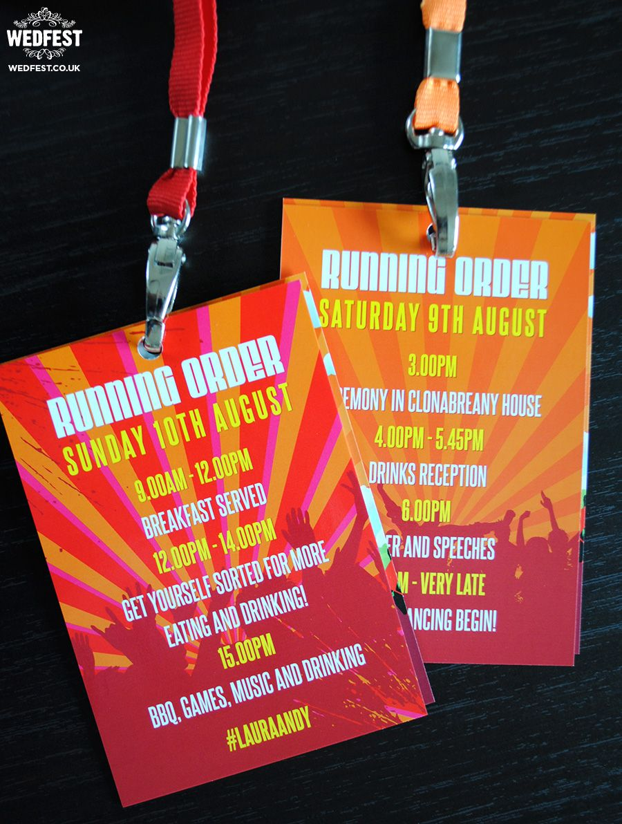 festival wedding running order vip lanyard | Wedding | Pinterest ...