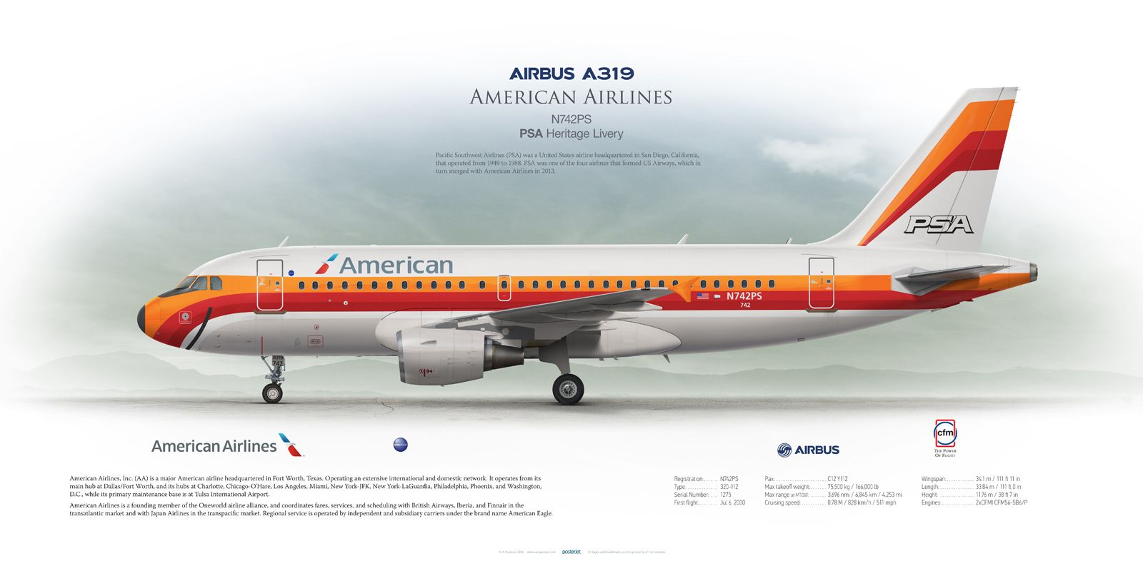 Airbus A319 American Airlines Psa Heritage Livery