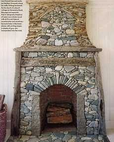 River Stone Fireplace standout river rock fireplaces . . . cottage cuties!   cottage