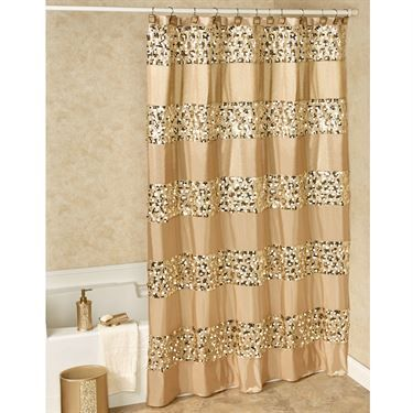 Marvelous Prestigue Champagne Gold Sequined Shower Curtain