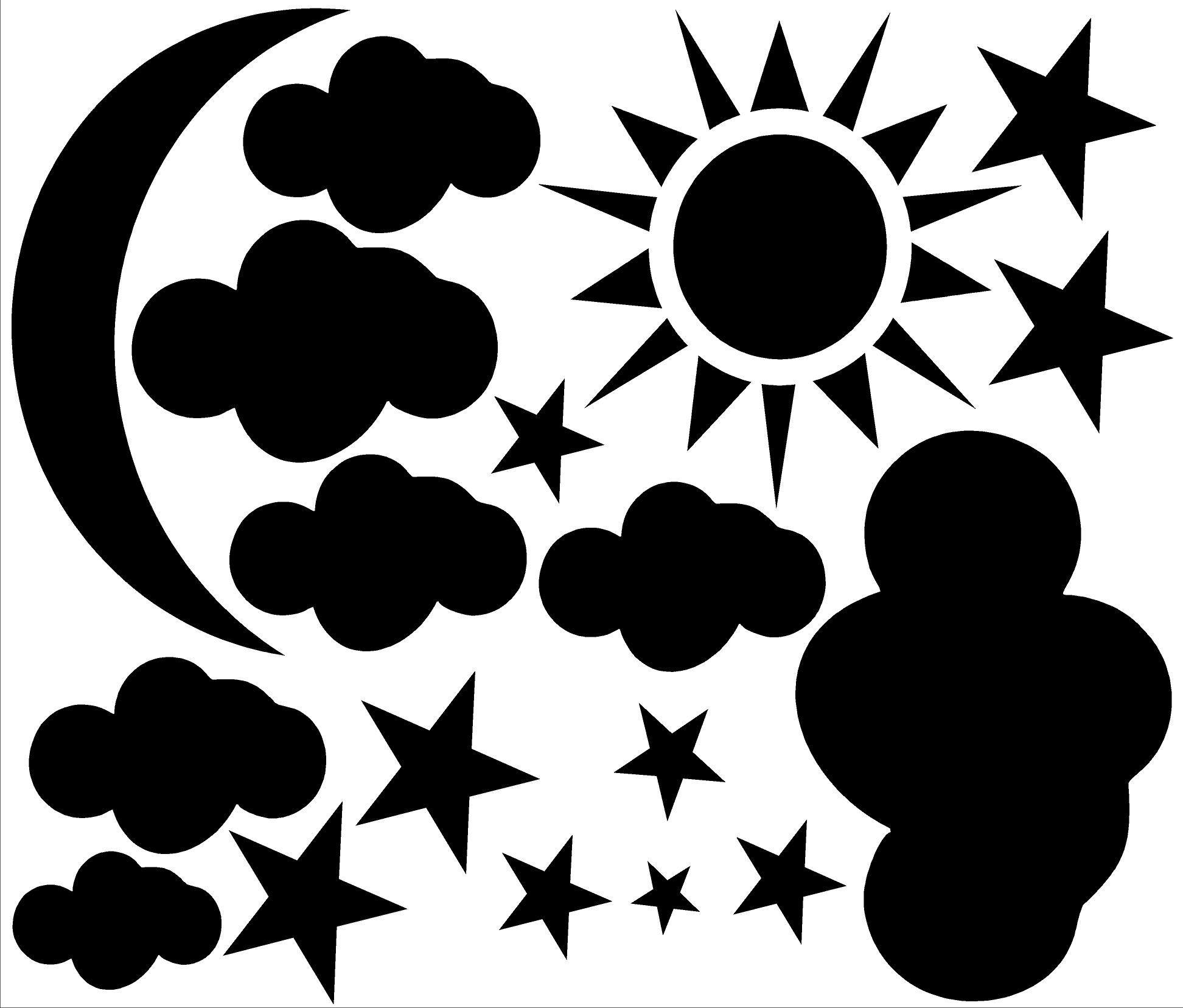 Sun,Moon,Cloud,Stars Vinyl Wall Decal Moon silhouette