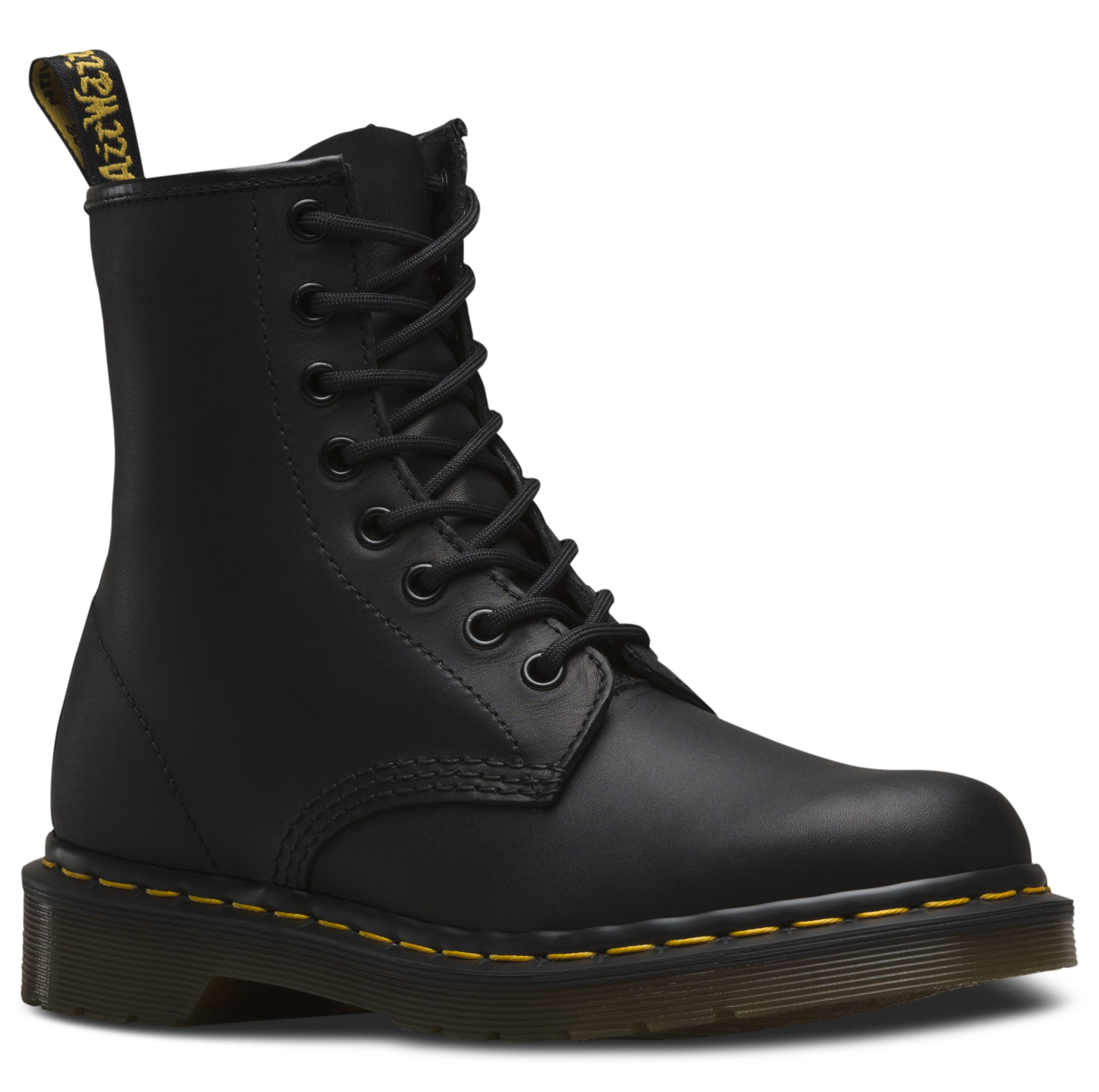 Dr. Martens 1460 Greasy Leather Lace Up Boots in Black Greasy