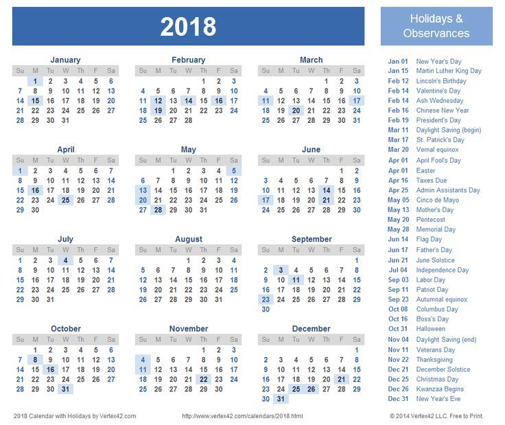 2018 calendar holidays