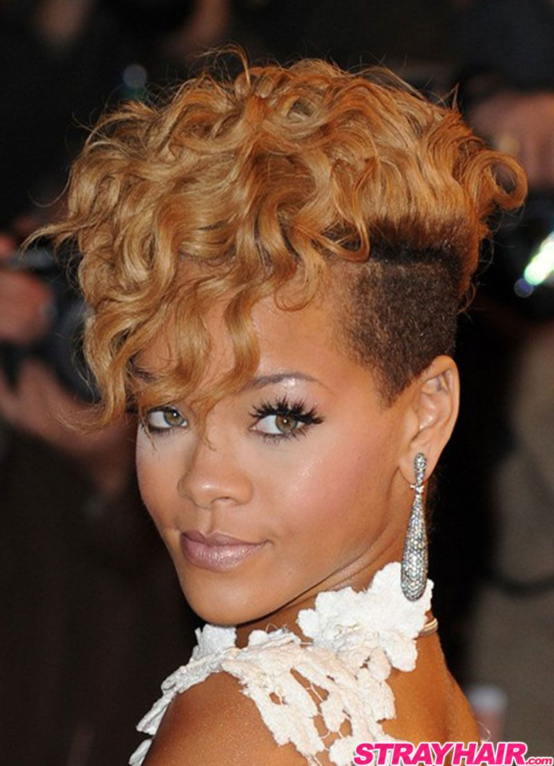Rihanna Wavy Currly Short Blonde Hair With Undercut Sides Mohawk HairstylesCelebrity