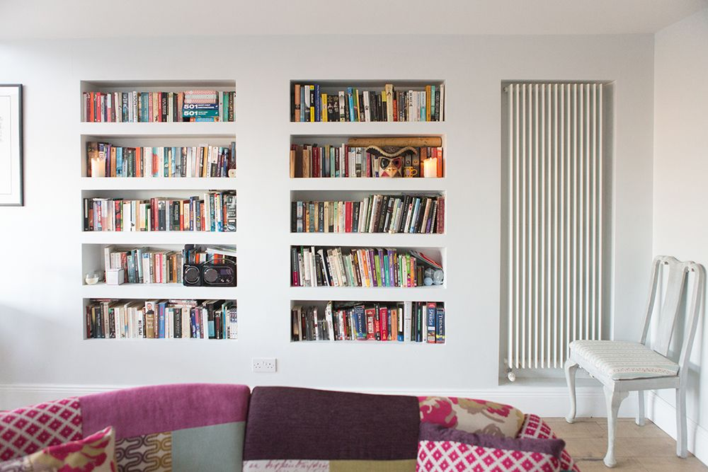 Drywall Shelves Living Room With Built In Shelving And Recessed Radiator Grey Living Room Walls Grey Walls Living Room Living Room Extension Recessed Shelves