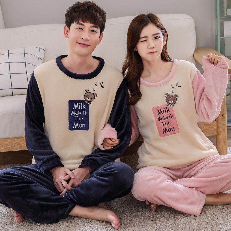 Photo of Winter Couples Thick Warm Flannel Pajama Sets Women Long Sleeve Cartoon Coral Velvet Pyjama Men Sleepwear Homewear Clothing