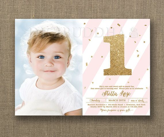 First birthday invitation baby girl blush pink stripes and gold first birthday invitation baby girl blush pink stripes and gold glitter one with gold confetti by stopboris Choice Image