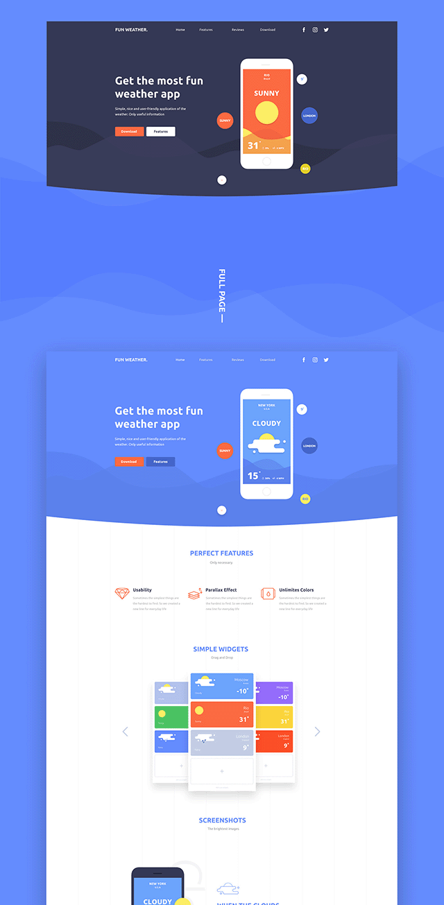 Fun Weather A Free Landing Page Template For Your Apps
