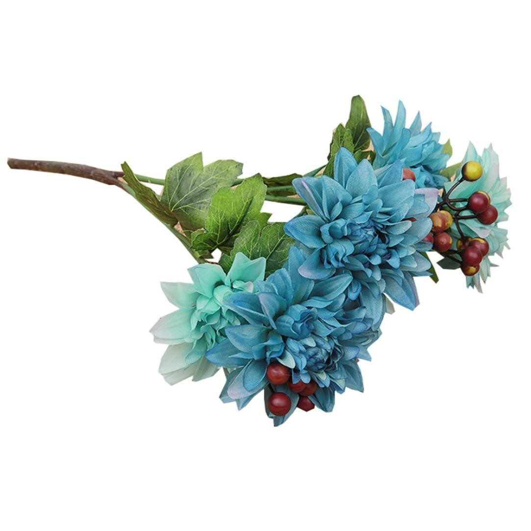 6 Heads Ivory Dahlia Artificial Bouquet, Oksale® Silk Plastic Fake ...