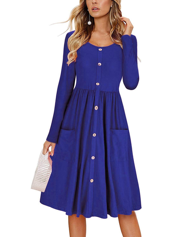 Wispr Women S Solid Color Round Neck Long Sleeve Pocket Waist Button Dress Walmart Com Women Long Sleeve Dress Midi Swing Dress Casual Dresses For Women [ 1500 x 1200 Pixel ]