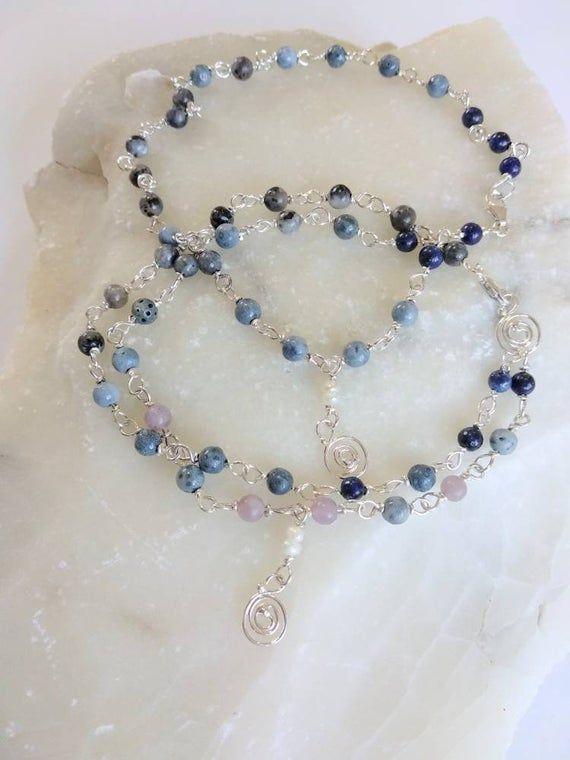 Photo of Dainty Jewelry set, Sterling Silver, Gray Blue bracelet, Gemstone Anklet, Denim Accessory.