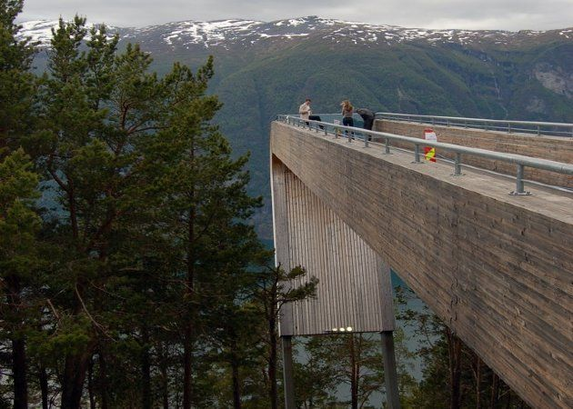 Designed by Todd Saunders and Tommie Wilhelmsen, it's a rest stop for drivers and tourists, and it was commissioned by the Norwegian Highway Department. The way it slopes down the mountain mirrors a waterfall across the fjord.