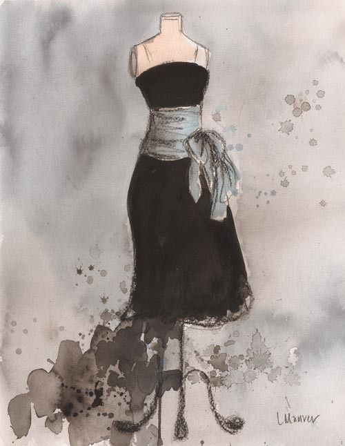Print - Watercolor and Charcoal Painting - Vintage Dress Painting