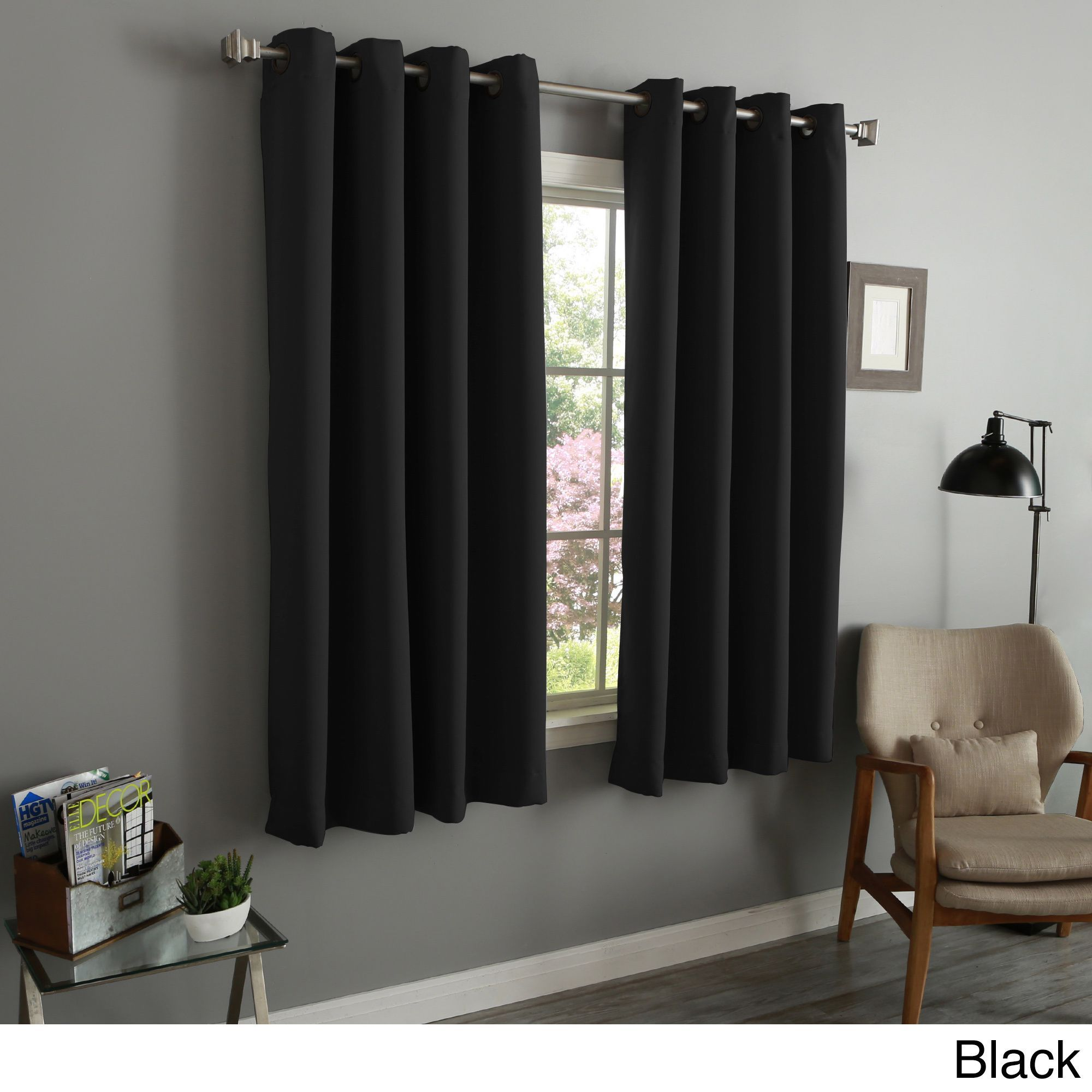 Aurora Home Thermal Insulated Blackout 54 Inch Grommet Top Curtain