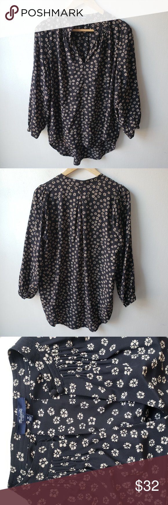 0cf588ecf280c2 Madewell Silk Memory Blouse In Stencil Blossom A lightweight ditsy floral  print enlivens a flouncy silk