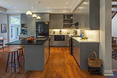 Contemporary Grey Kitchen with Black Appliances Color Ideas ...