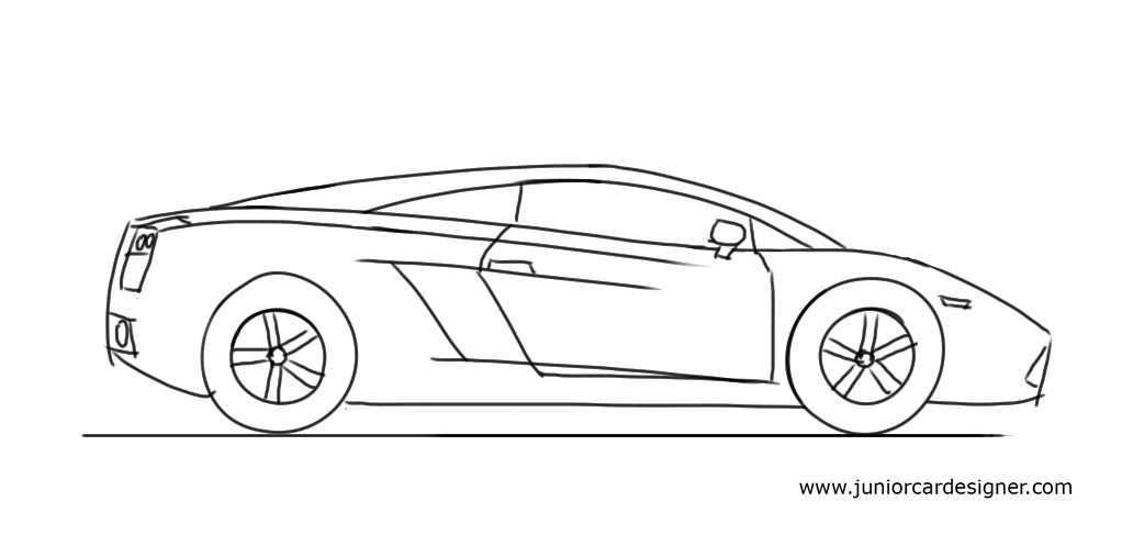 How To Draw A Car For Kids Lamborghini Gallardo Side View In 2019