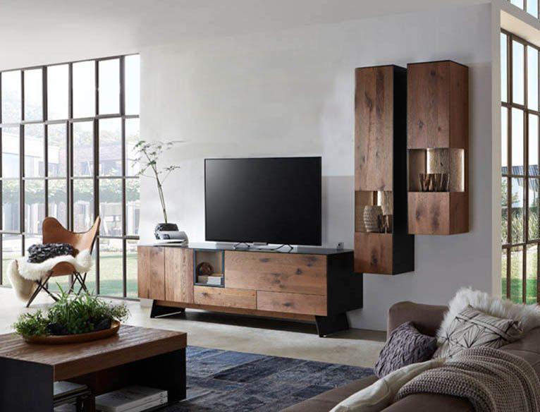 wohnwand von w stmann aus r uchereiche mit geschw rztem rohstahl m bel mit. Black Bedroom Furniture Sets. Home Design Ideas