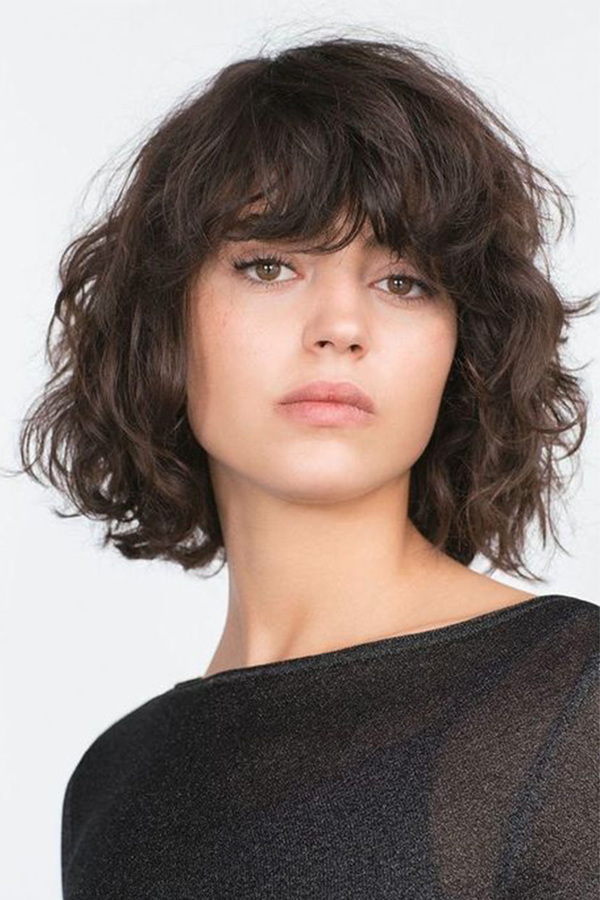 Women's Curly Hairstyles With Bangs 100% Human Hair Natural Looking Lace Front Wigs 16Inch
