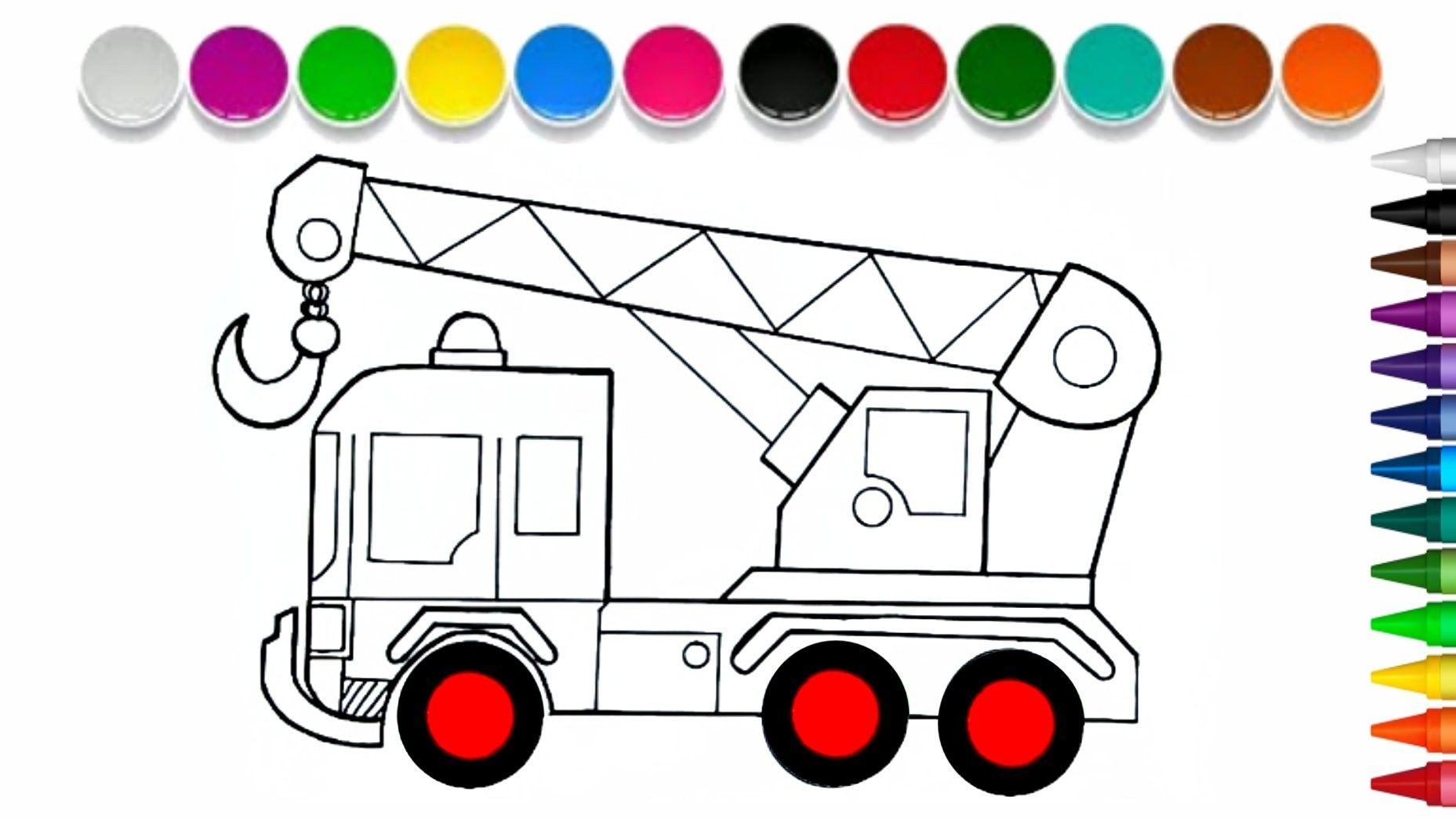 Cara Menggambar Mobil Crane Mudah Untuk Anak Mobil Truk Kids Rugs Truck Cranes