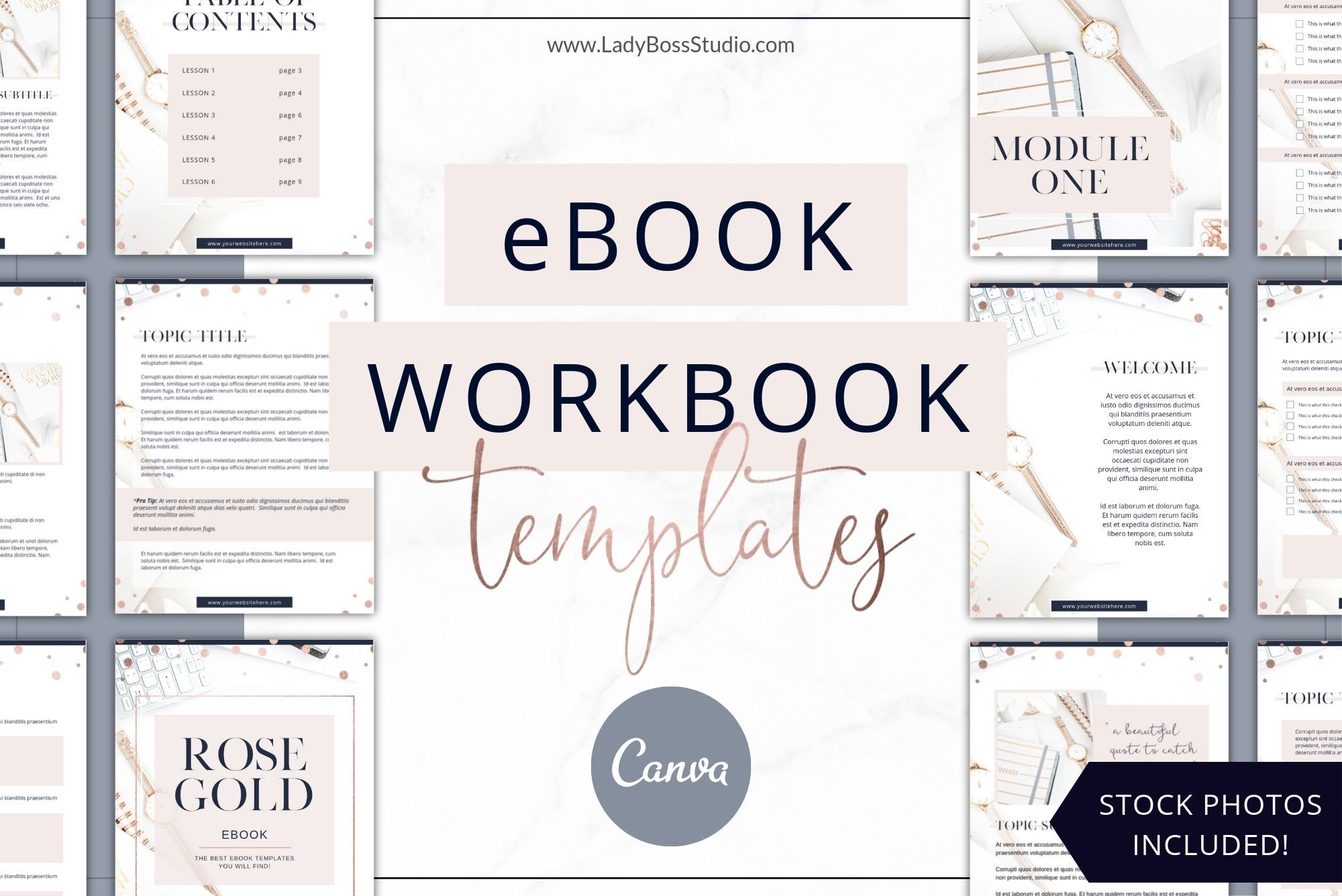 Rose Gold eBook & Workbook Templates Canva in 2020 (With