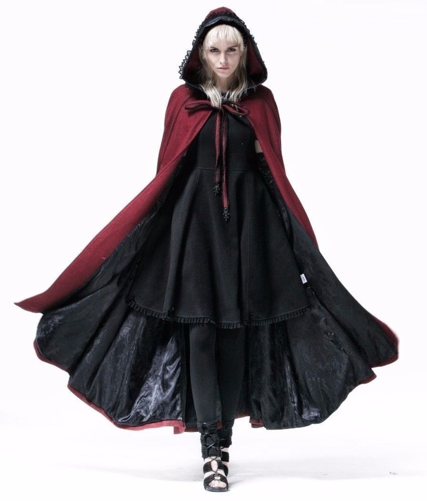 cf05e424654aed Punk Rave Wine Red Riding Hood Long Cape Cloak Gothic Witchy Victorian  Y-547 #PunkRave #Cape