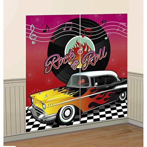 D co murale fifties affiche rock 39 n 39 roll 2 pi ces party for Decoration murale annee 50