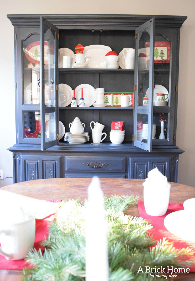 A Brick Home Christmas Hutch Decor Ideas China Cabinet