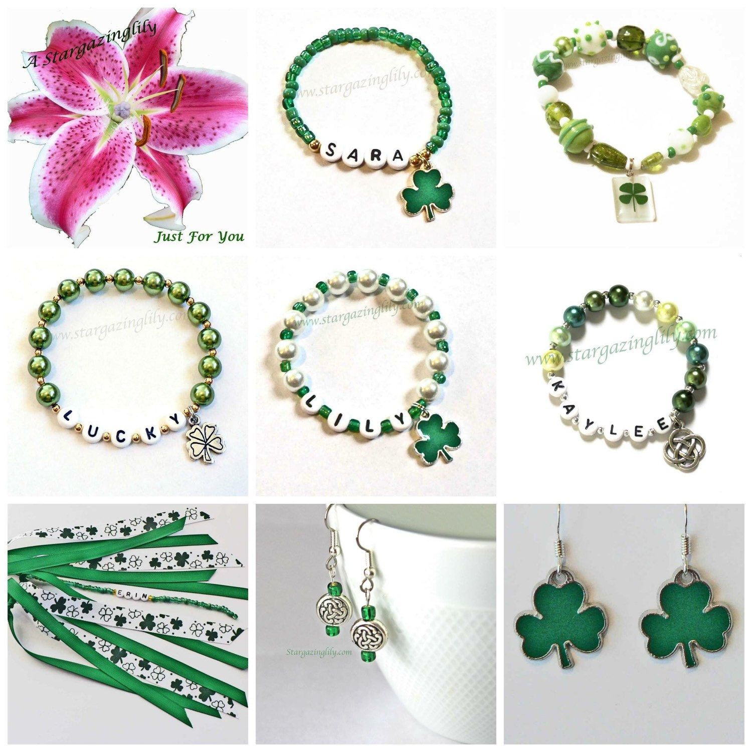 Green lucky shamrock necklace four leaf clover charm emerald green - Ladies St Patrick S Day Lucky Charm Bracelet With Silver Tone 4 Leaf Clover Shamrock Charm Green Glass Pearls Gold Accent