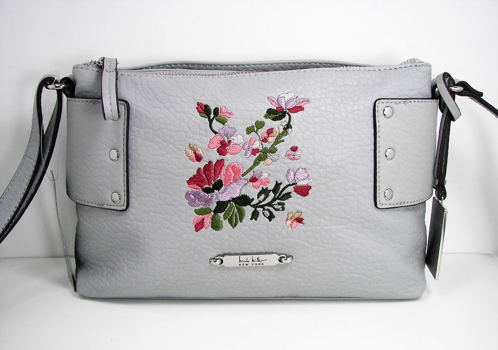2d485aff66 Nicole Miller NY Embroidered Floral Purse Gravel Gray Faux Leather  Crossbody  NicoleMiller  Crossbody