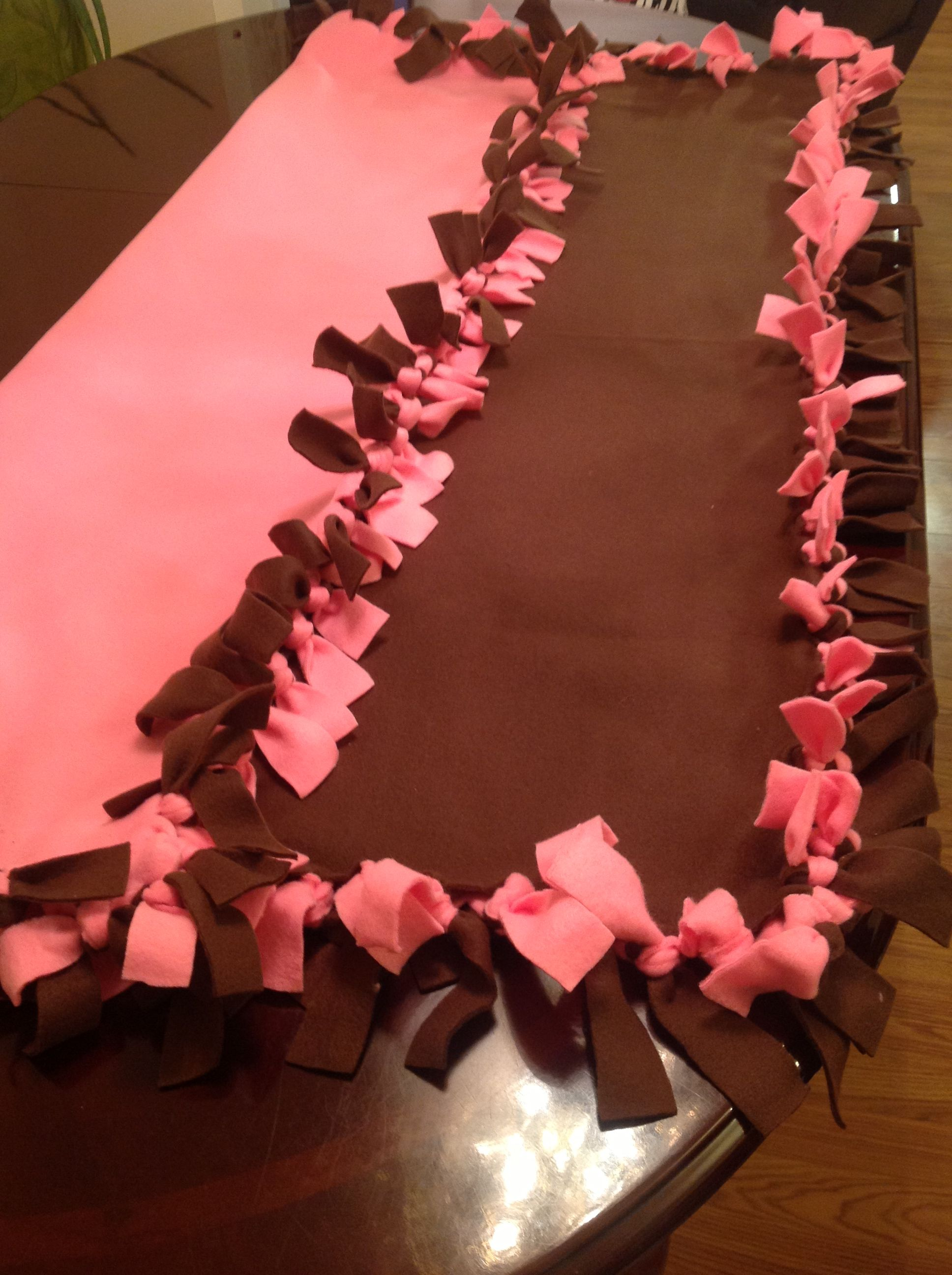 Chocolate & Pink baby's blanket.  These colors are gorgeous together!! Very easy to make, I made this and 7other designs.