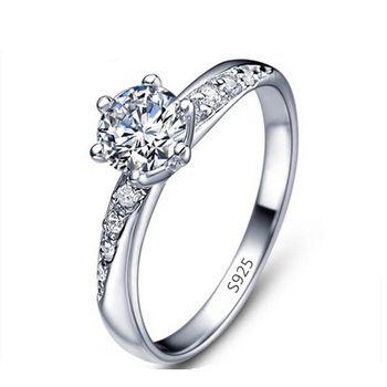 1560ef87a2a5 Chapado en oro blanco anillo de compromiso joyas de plata 925 Anillos para  mujeres Wedding Band joyería Anillos Bague Bijoux MSR061