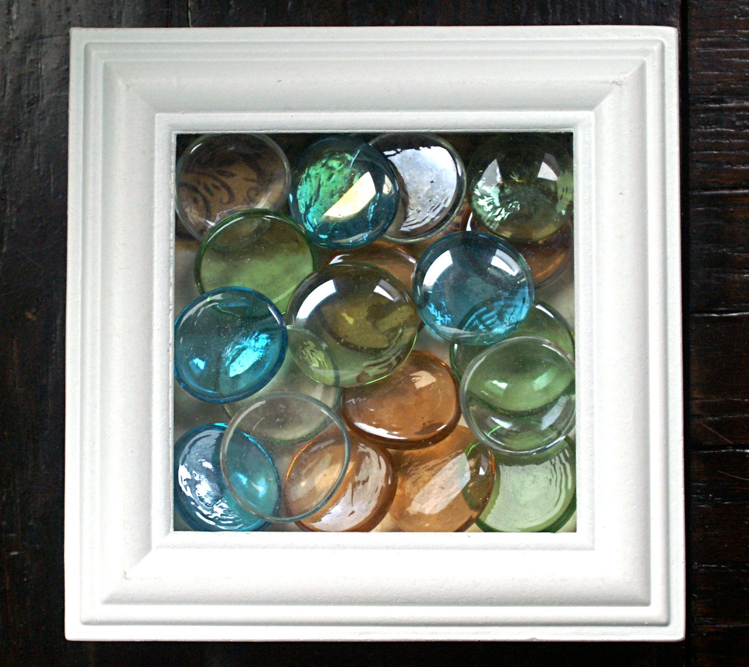 Wall art multicolored round glass stones in white shadowbox