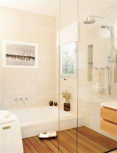 Ba era y ducha en paralelo para ba os estrechos ba o ba os duchas y ba o con ba era - Bano con ducha y banera ...