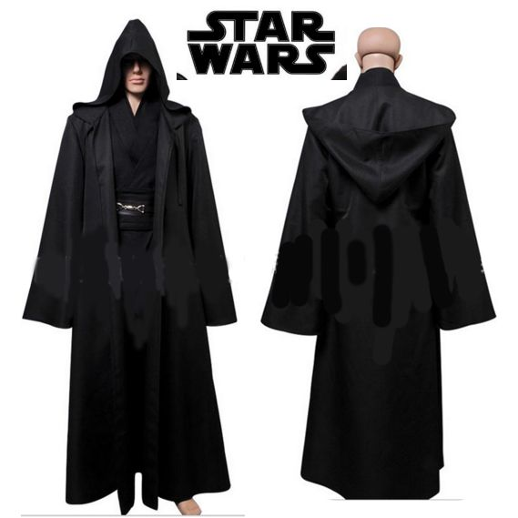a9fa74a373 New Star Wars Jedi Hooded Robe Cloak Cape Costume Adult Men Black  Darth-Vader-Costume Halloween Christmas Dress