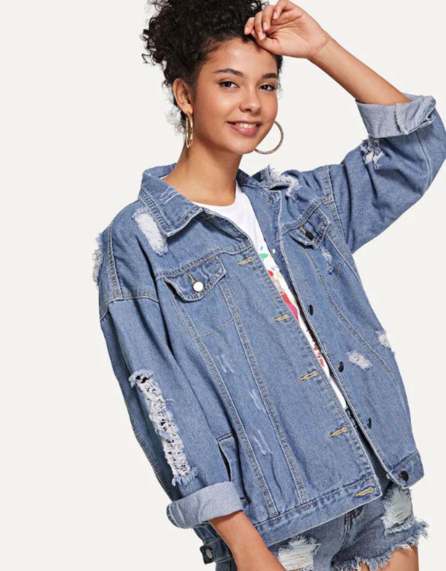 Ripped Button Front Denim Jacket | Denim jacket, Button