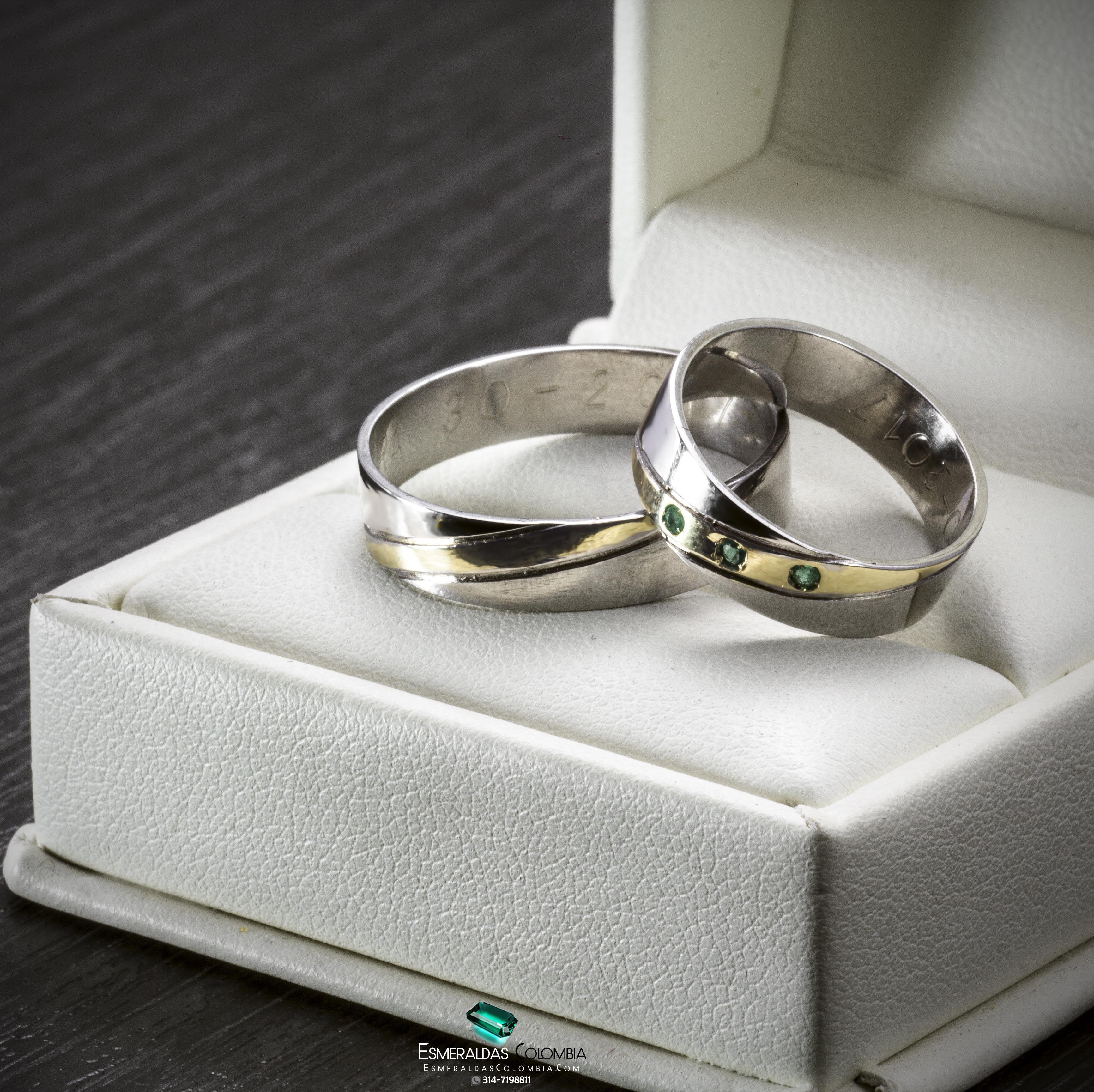 62106be3920a Argollas de Matrimonio Oro 18k y Plata 950 con Esmeraldas Colombianas
